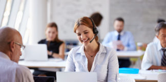 Woman on voip phone